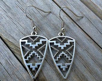 Aztec Arrow Earrings, Charm Earrings, Tribal Earrings, California Earrings, Gifts for her, Jewelry, Earrings, Surgical Steel Earrings
