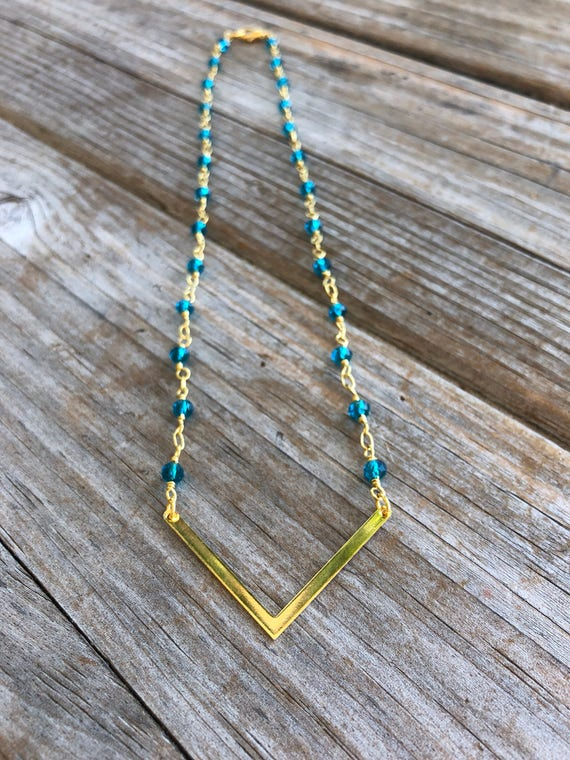 Deep Blue Beaded V Necklace, Gold Necklace, Beaded Necklace, Rosary Necklace, Boho, Christmas Gift, Birthday Gift, Gift for