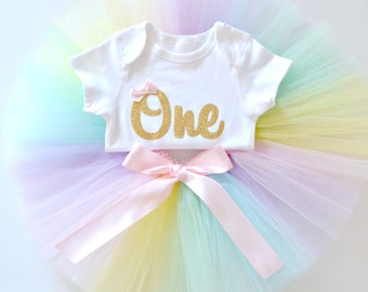 Pastel Rainbow 1st Birthday & Cake Smash Tutu Outfit | Gold Glitter One Onesie Bodysuit and Tutu Set | First Birthday Outfit | Short Sleeve