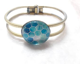 Blue scales cabochon Bangle
