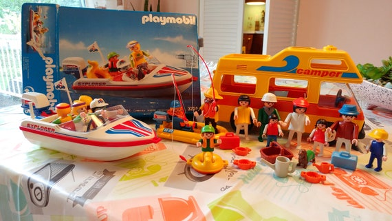Vintage Playmobil camper and boat set
