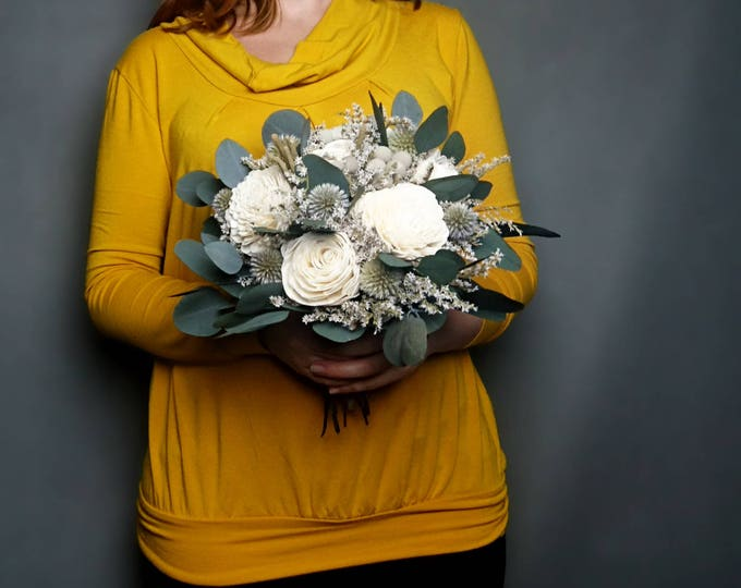 Medium natural boho bridal bridesmaid wedding bouquet blue preserved eucalyptus ivory sola flowers gray brunia echinops silver ribbon winter