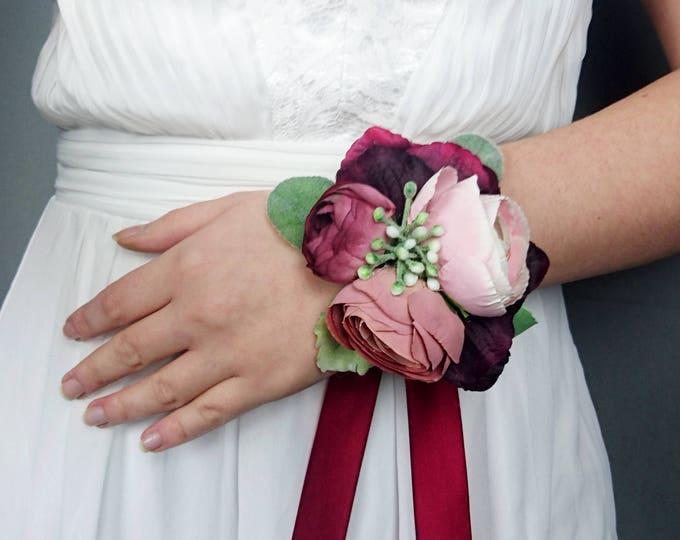 Dusty blush pink burgundy wrist corsage rose realistic silk flower marsala wine dusty miller greenery mother of bride bridesmaid