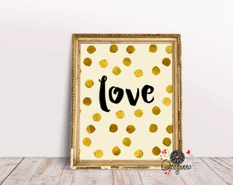 Love wall art-love printable-gold wall art-gold home decor-elegant home décor-engagement gift-anniversary gift-wedding gift-Valentine's Day