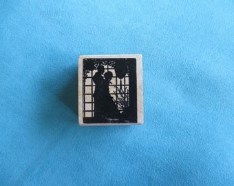 Magenta - Couple in Silhouette - Rubber Stamp