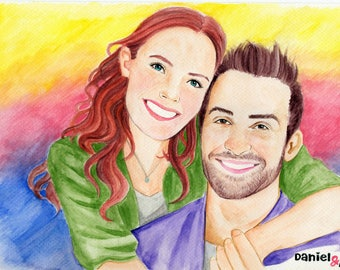 Custom Watercolor Couple Portrait, Valentine's Day Gift, Anniversary Gift