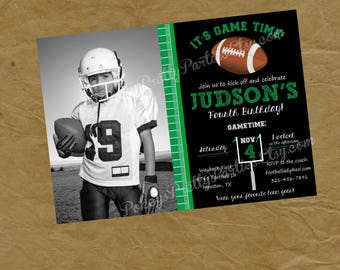 Photo FOOTBALL Birthday Party Invitation Invite -Digital or Printed Picture Foot Ball Sports