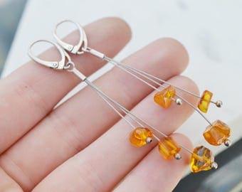 Sterling Silver Beaded Amber Dangle Earrings, Sterling Silver Amber Earrings, Amber Jewelry, Sterling Amber Bead Earrings