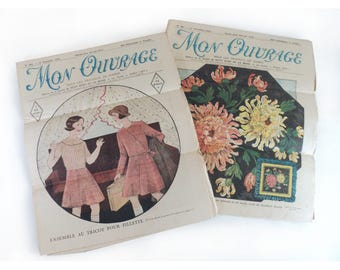 Set of 2 French Vintage Magazines Mon Ouvrage 1934,  Le Petit Echo de la Mode, French Fashion Magazine, Sewing Newspaper