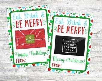 Eat, Drink & Be Merry Restaurant Gift Card Holder. Printable Gift Card Holder to Pair with Restaurant Gift Card. Instant Digital Download