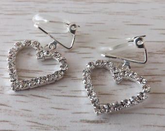 Clip-on diamanté heart earrings, clipon heart earrings, clip-on rhinestone earrings, love earrings, unpierced earrings, non-pierced earrings