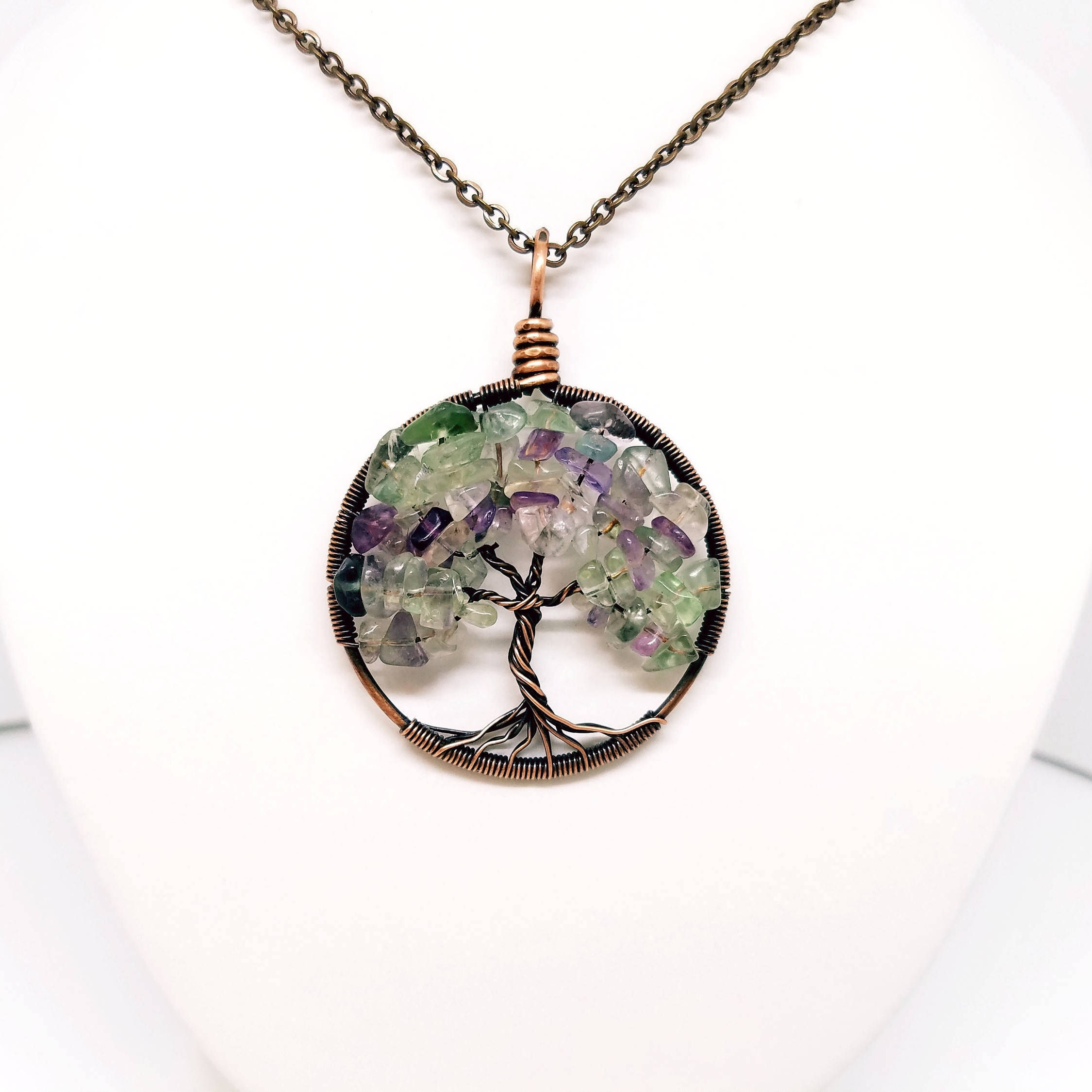 Fluorite Tree of Life, wire wrapped jewelry handmade, wire wrapped ...