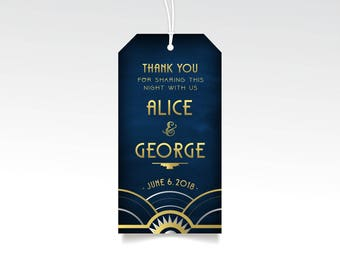 Art Deco Thank You Tags & Strings PRINTED Favor Hang Tag Brunch Welcome Bag Great Gatsby 1920s Gold Silver Navy Chalkboard Wedding The ALICE