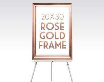 20 x 30 ROSE GOLD FRAME . Solid Maple Wood Wedding Sign Frame Gold Silver White Black Rustic Ready to Hang Hardware . Sizes 5 x 7 to 30 x 40