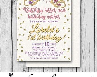 Girl Birthday Invitation, Purple and Pink, Glitter, First Birthday, Butterflies, Any Color/s - Invitation / Bridal / Baby Shower / Birthday