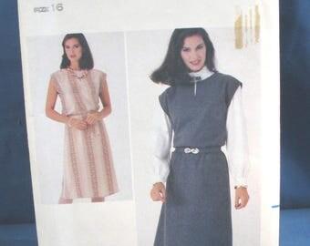 Vintage Butterick Sewing Pattern 3963 Misses Dress or Jumper and Belt Size 16