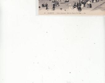 Antique Postcard Biarritz France Beach Scene, Cabanas, Unused