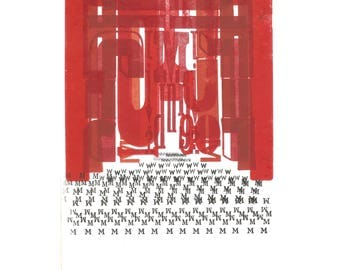ONE OF A KIND Twin Peaks Red Room Abstract Letterpress Monoprint Coopers Dream Black Lodge