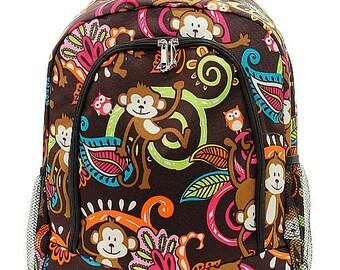 Monkey Print Monogrammed School Backpack Brown Trim