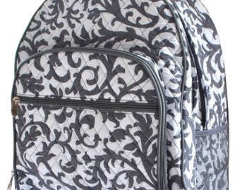 Damask Print Large Quilted Backpack Great for Back to School or Diaper Bag Gray/White