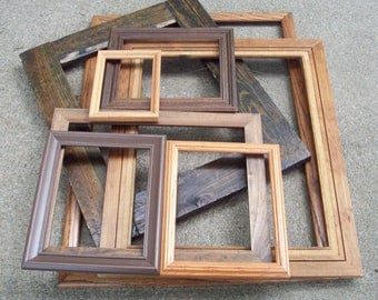large rustic wood frames rustic wooden frame set of 8 ombre brown earthtones open wall gallery wedding photo prop primitive home decor - Wood Picture Frame Set