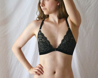 OLYMPIA Black and Gold Lace Front Closure Bralette with Removable Strap, Handmade to Order