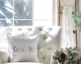 Farmhouse Merry Christmas Pillow Cover | Merry Christmas Pillow Cover | Farmhouse Throw Pillow | Rustic Christmas Farmhouse Pillow Cover