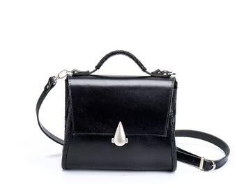 Black Leather Bag /  Medium Purse / Crossbody Messenger Bag / Top Handle Handbag / Women Tote / Shoulder Bag / Casual Bag - Johnson