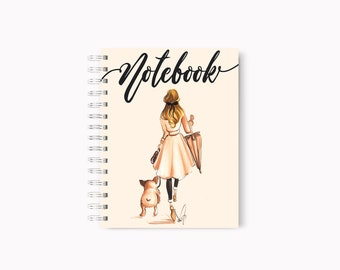 Frenchie notebook,Dog notebook, Fashion notebook, Fashion journal, Dog journal, Dog art, French bulldog art, Fashion illustration