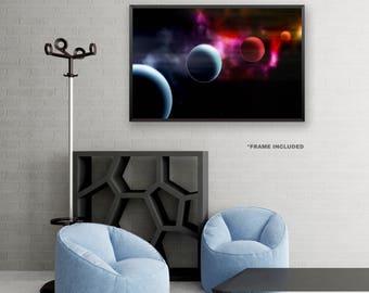 Framed Blue and Red Space Poster Art, Framed Universe Art Poster