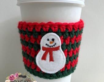 """The """"Snowman"""" Cozie / Coffee Cozie / Tea Cozie / Tumbler Cozie / Crochet Cozie"""