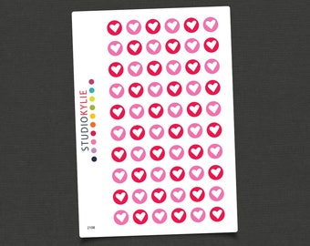 Hearts - Planner Stickers - Repositionable Matte Vinyl