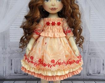 Textile doll,ooak doll,decorative doll, collector dolls, doll cotton, rag doll, art doll