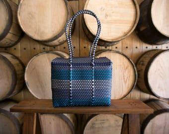 MEDIUM Oaxaca Bag, Woven Plastic Bag, Mexican Bag, Blue Basket