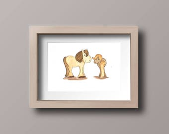 Truffles & Toffee watercolour horse wall art