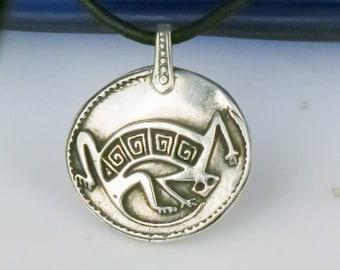 Zuni Gecko Dreamkeeper Fine Silver Pendant - Sterling Silver Keyring - Necklace - Southwest Native American Gecko Fine Silver Pendant Gift