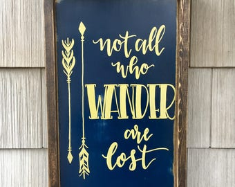 "Not All Who Wander Are Lost - Framed Wood Sign Wall Art  - 19.5"" x 13.5"" - Navy and Gold"