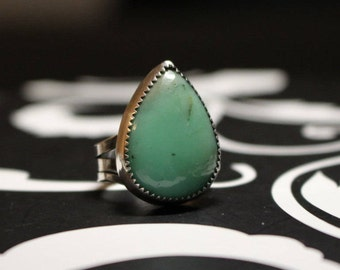 Chrysoprase Ring, Natural Chrysoprase and silver, Chrysoprase ring, crysoprase jewelry