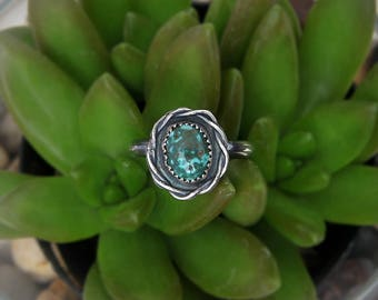 Turquoise ring, Sterling silver Turquoise Ring, Natural turquoise, dainty ring, everyday silver ring, handcrafted ring