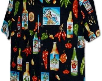Chili Hot Hula Black Pacific Legend Hawaiian Aloha Shirt 410-3840
