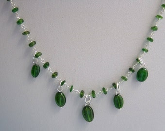 """Chrome Diopside Sterling Silver 17"""" Rosary Chain Necklace with or without Five Russian Diopside Drops"""