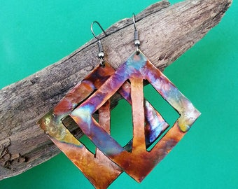 Handmade Square and Triangle Copper Earrings
