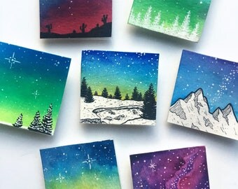 Watercolor Galaxy Magnet, Art Magnet, Galaxy Magnet, Watercolor Magnet, Magnet Set, Fridge Magnet, Office Set, Teacher Gift, Gift Set