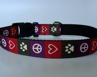 Peace, Love And Paw Prints Dog Collar or Leash - Ready to Ship!