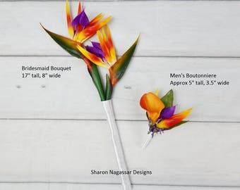 Orange Yellow Purple Bird Of Paradise Bridesmaid Bouquet Real Touch