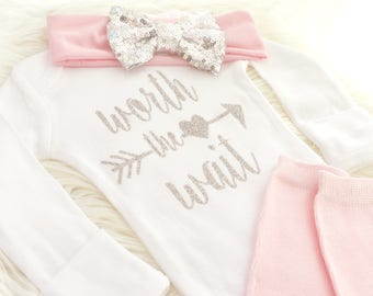 Worth the Wait outfit, Rainbow Baby girl outfit, Rainbow baby gift, Rainbow Baby announcement, rainbow baby shirt