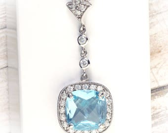 Large Art Deco Sterling Silver Checkerboard Blue Topaz & White Topaz Halo Design Triple Chain Pendant Necklace, 16 inches.