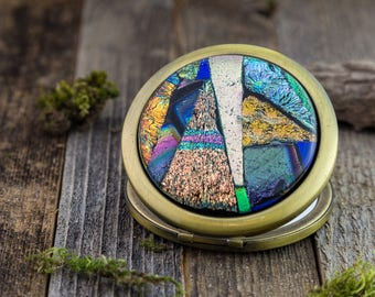 Fused Glass Embellished Compact Mirror / Dichroic Glass / Silver Mirror /Pocket Mirror/ Unique Gift/ Mosaic / Jewelry/ Makeup/ Handmade gift