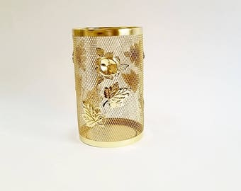 Vintage trash can etsy for Gold bathroom wastebasket