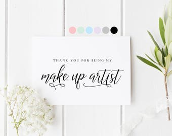 Makeup Artist Thank You Card, Wedding Make Up Artist, Card For Wedding Hairdresser, Card For MUA, Wedding Vendor Thank You Card, Thank You